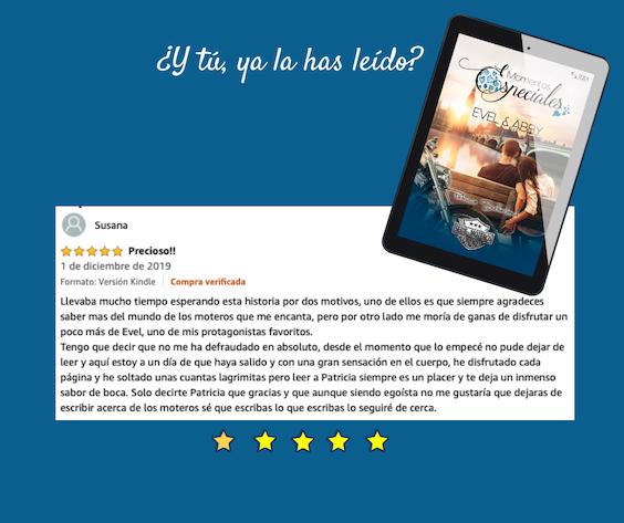 Novela romantica Momentos Especiales - Evel & Abby. Opinión de Susana.